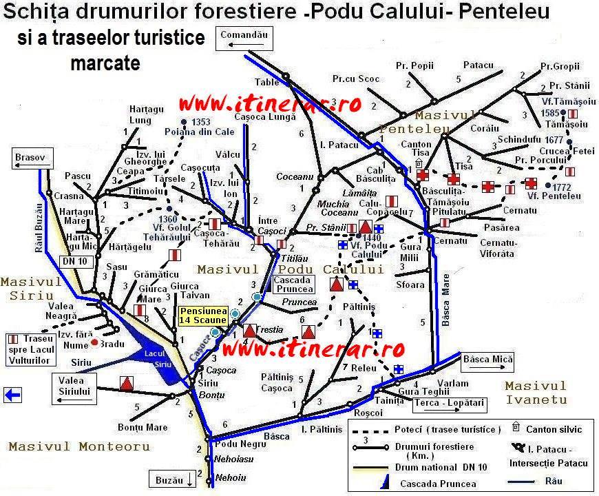 Harta trasee Penteleu