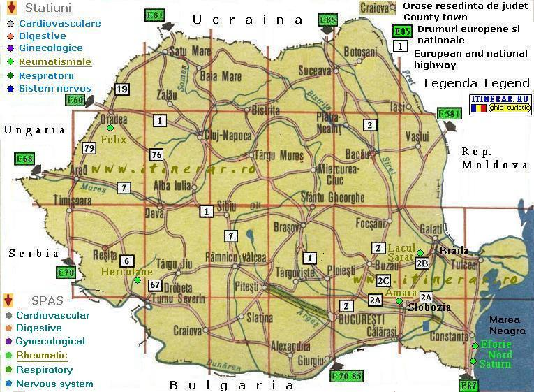 Hartă Statiuni Balneare Din Romania Afectiuni Reumatismale