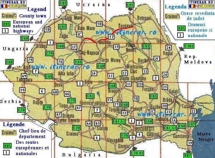 Itinerary, map - national road  DN17