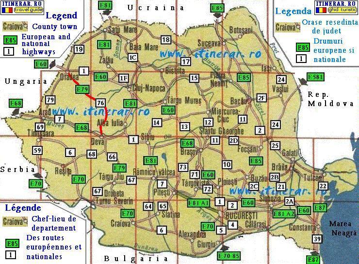 Routes trips map national road DN76 Deva Oradea
