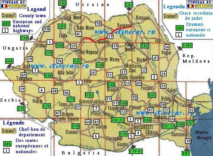 Itinerar Hartă Rutieră Drum National Dn 17 Dej Bistrita Vatra